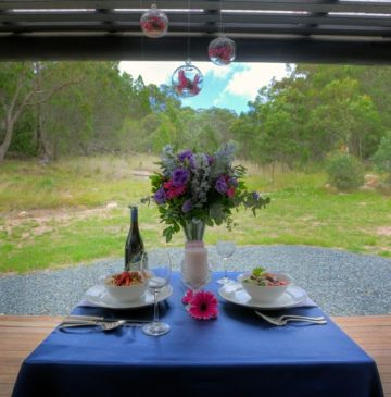 Alure Stanthorpe Outdoor Table Setting with flowers