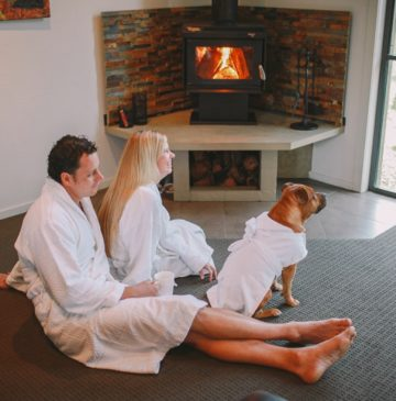 Alure Stanthorpe Maxy Dog in bathrobe by fire