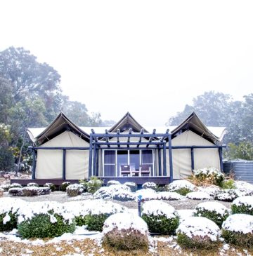 Alure Stanthorpe: Misty snow surrounding glamping tent