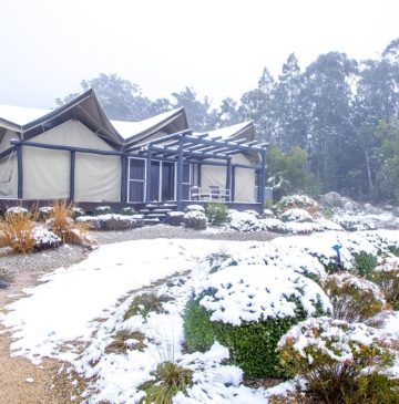 Snow at Alure Stanthorpe Glamping Tent