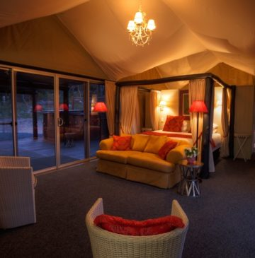 Alure Stanthorpe Glamping tent interior at night