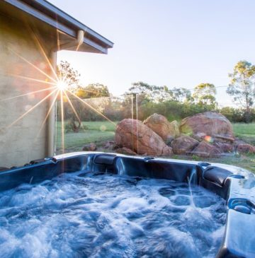 Alure Stanthorpe Villa spa at sunset